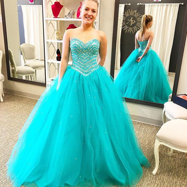 2017 New Turquoise Ball Gown Prom Dresses Sweetheart Corset Back Heavily Beaded  Crystals Princess High School Prom Party Gowns f511b0e00c6e