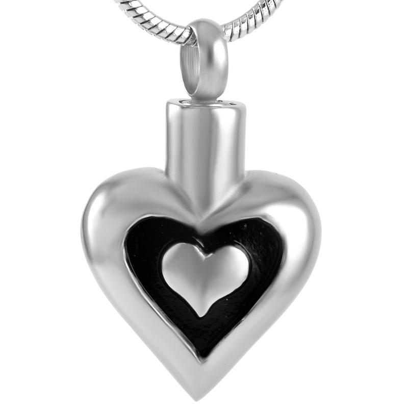 Mini Heart Pendant for Ashes Human Keepsake Rhinestone Memorial Urn Locket