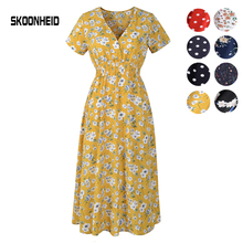 SKOONHEID Summer Women Bohemian Floral Dress V Neck Print Ch
