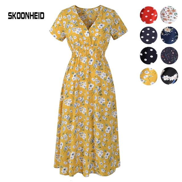 SKOONHEID verano mujeres Bohemian Floral vestido V cuello estampado gasa vestidos playa manga corta Dot Midi vestido elegante vestido largo