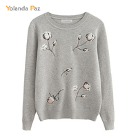 Yolanda Paz High Quality Autumn Winter Fashion Women S Knitted Sweater Gray Cotton Flower Embroidery Long