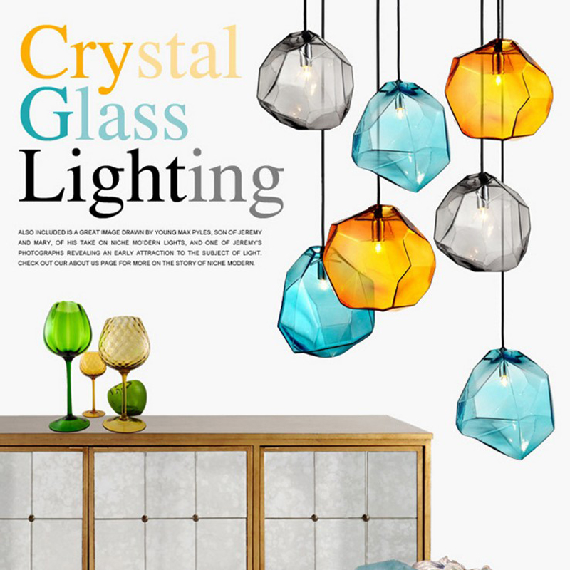 Nordic NEW three stone pendant lights creative personality lounge dining room lights LED color glass hanging lamps FG181