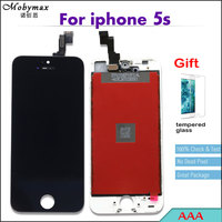 With Tempered Glass Top Quality Ecran LCD For IPhone 5s Touch Screen Display 100 No Dead
