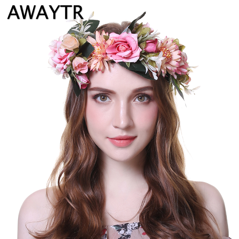 AWAYTR 2019 Fashion Wedding Bezel Wreath Flower Headband for Women Floral Head Band Spring Festival Photo Shoot Tiaras   Headwear
