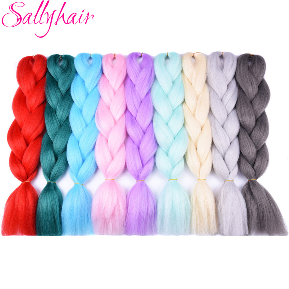 Hair Braids Qualified Sallyhair 3pcs/lot Folded 24inch Synthetic Ombre Bulk Crochet Braiding Hair Extension Single Color Braids Hair Black White Women A Wide Selection Of Colours And Designs
