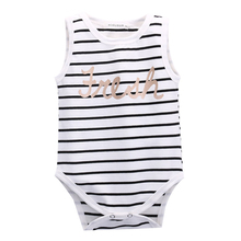 Summer Striped Bbay Bodysuit Letters Kids Baby Boy Girls Infant Cute Striped Bodysuit Jumpsuit Baby Clothes Outfits 0-24Months