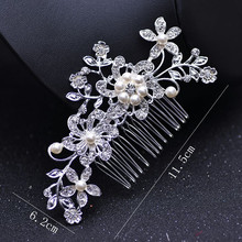 Fashion Crystal Hair Combs for Brides Silver Wedding Flower Pearls Hairclip Rhinestone Bridal Hairpin Women Jewelry Accessories haimeikang women rose flower retro combs brides hair pins hair comb wedding jewelry accessories red rose hairpin hair jewelry