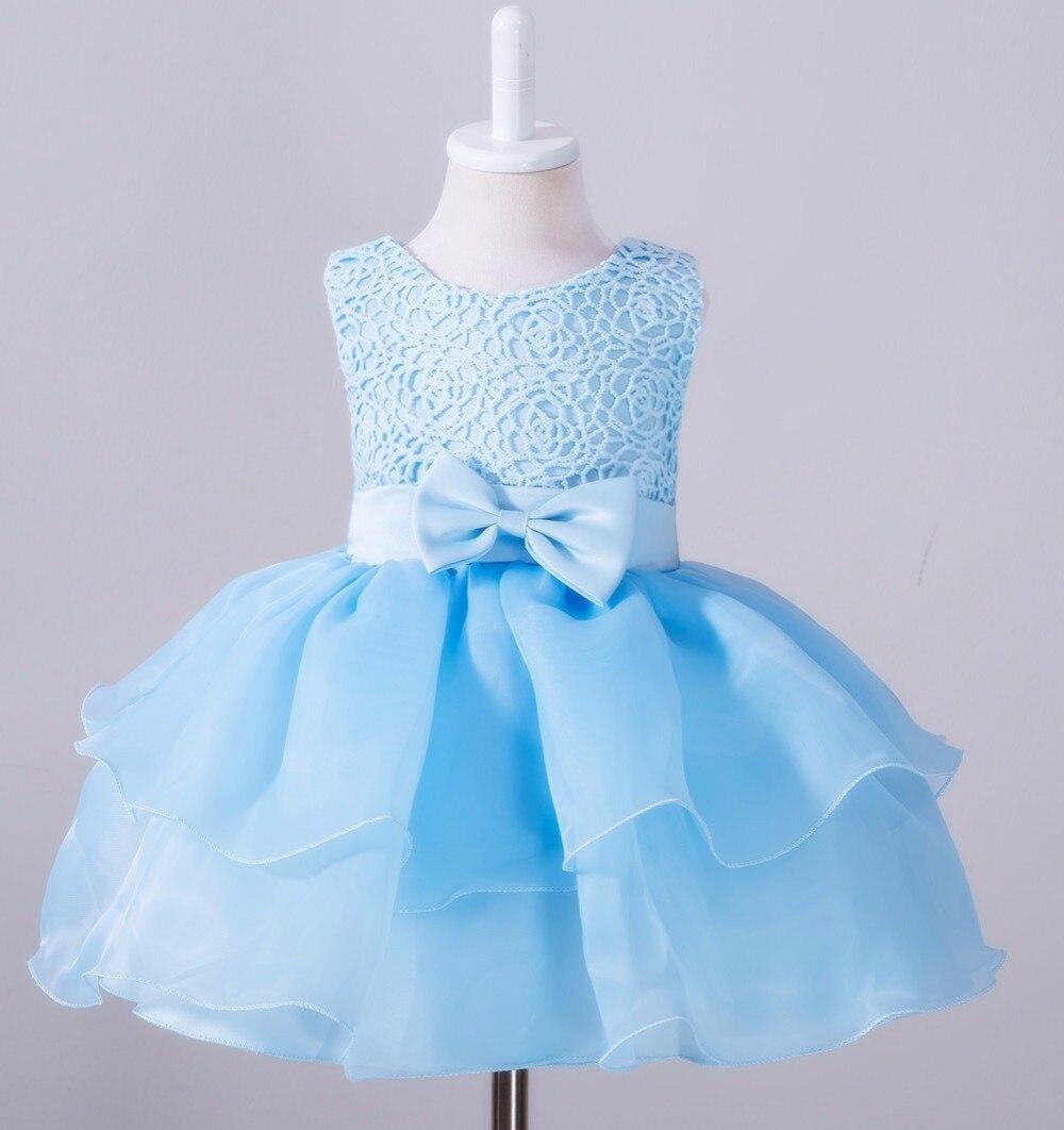 2017 new Retail Fashion Formal Newborn Wedding Dress Baby Girl Bow ...