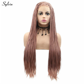 Sylvia Rose Gold Handmade Box Braided Wigs For Women Heat Resistant Pink Synthetic Lace Front Wig Drag Braids Wigs Cosplay Party