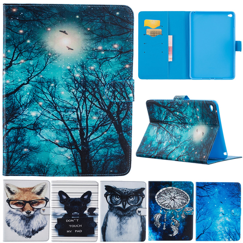 Fashion Cute Cartoon For Ipad Mini 4 Animal Owl Dog Fox Wallet Card PU Leather Stand Case Cover For Ipad Mini4 Funda Capa for apple ipad mini 4 tablet case pu flip leather stand cartoon animal owl cat cover for ipad mini 4 fundas coque