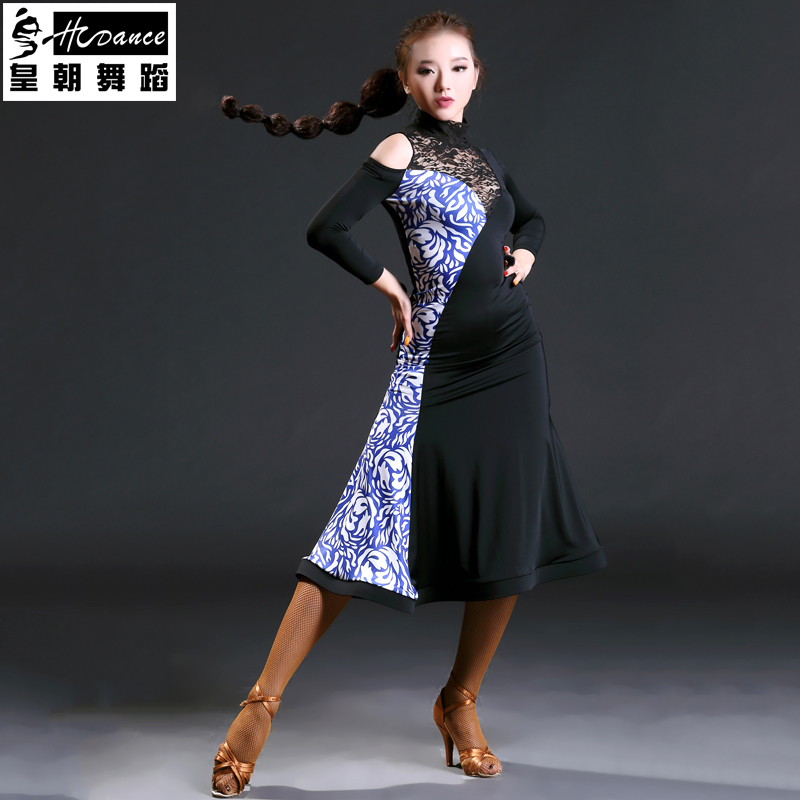 Hcdance 2017 Brand Latin Dance Dress Women Long Sleeve Girls Tango Dresses Rumba Flamengo Ballroom Dance Dress For Women 389