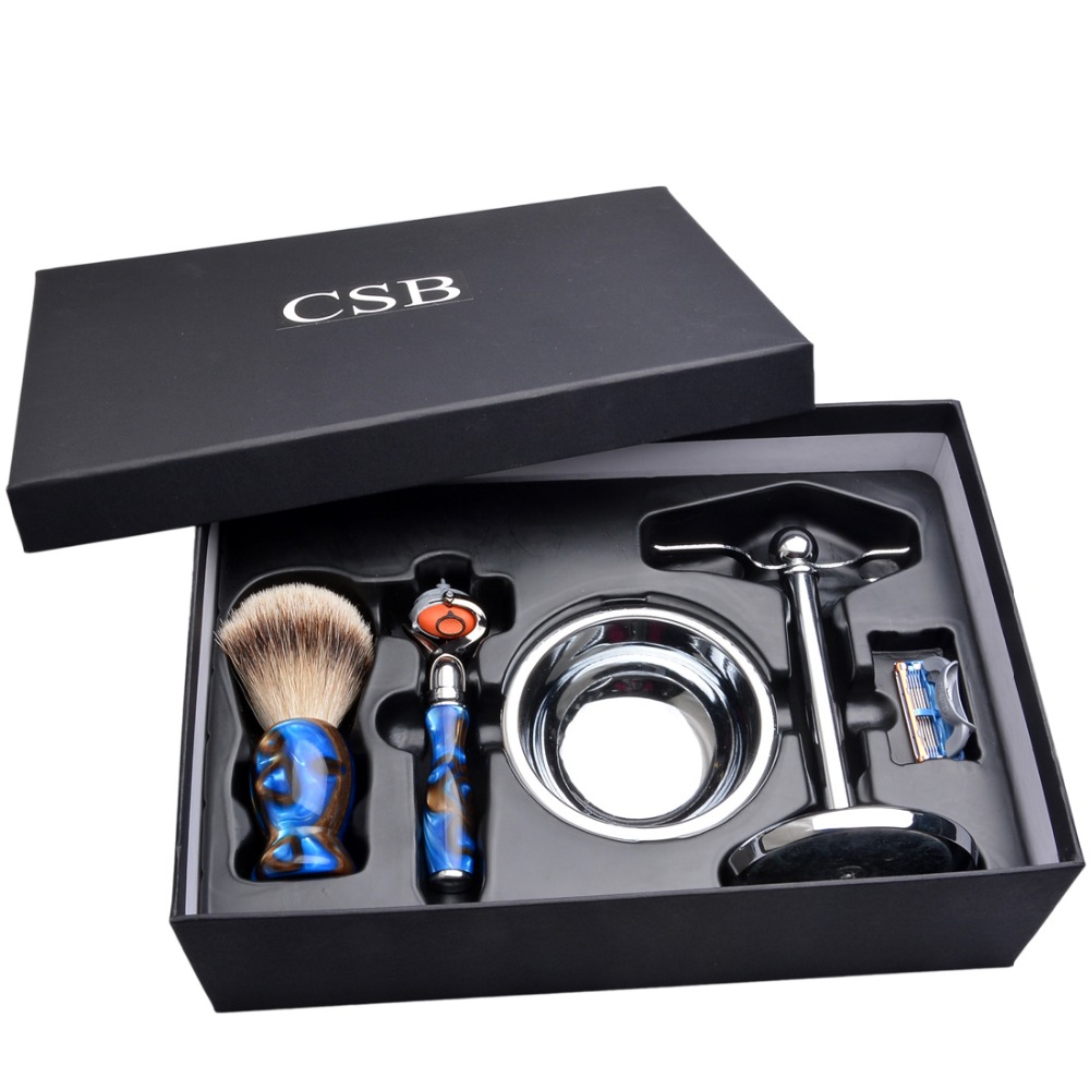 CSB Shaving Brush Set with Fusion Razor Acrylic Handle Silvertip Badger Shaving Brush Stand Holder Shave Soap Bowl Father Gift
