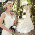 Luxury Beautiful Mermaid 2016 MGS Sexy V-Neck Tank WeddingDresses Lace Appliqued Beaded Vestido De Noiva Sweep Train Bridal Gown