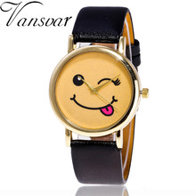 Vansvar Model Trend Smile Face Watch Informal Classic Leather-based Women Ladies Quartz Watch Relogio Feminino V51