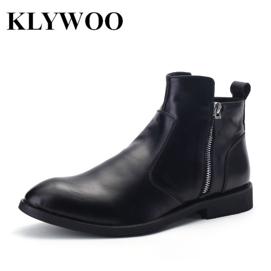 KLYWOO New Martin Boots For Men Autumn Winter Leather Ankle Boots Men Fashion British Cowboy Boots