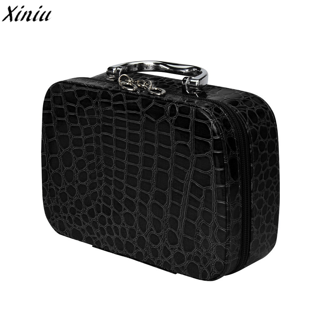 Professional Makeup Storage Bag Stone Pattern Cosmetic Organizer Case Leather Travel Jewelry Box Fixador De Maquiagem @Y109 black professional makeup cosmetic storage train case box trays aluminum organizer artist hiker draws