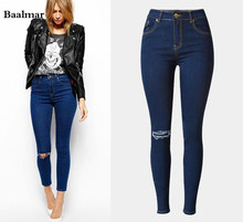 Baalmar Jeans Woman Vintage Navy Blue Boyfriend Ripped Jeans Pants Women Causal Summer 2017 Jeans Capris Pants Female