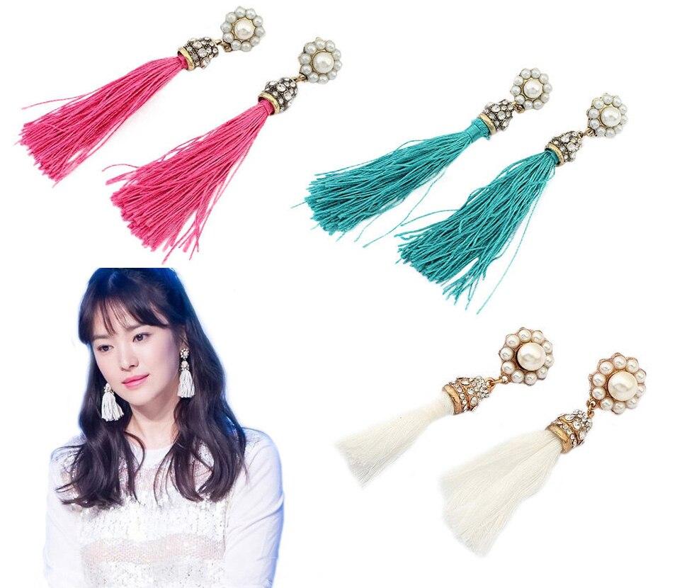 Fashion Vintage Style Simulated Pearl Flower Rhinestone Cluster Tassels Silk Thread Ear Stud