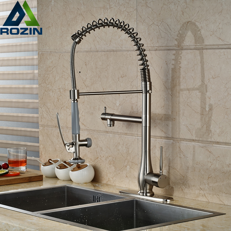 New Design Single Handle Bathroom Kitchen Faucet Pull Down Hands Free Sprayer Kitchen Mixes Brushed Nickel