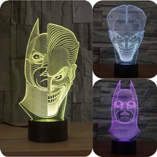 Novelty Joker Batman 3D Illusion Bulb Lamp LED Night Light USB lamparas 3d led Table Desk Lamps Bedroom