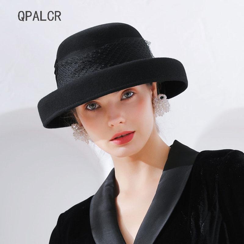 62edeb83940a7 QPALCR nueva moda sombreros de lana para las mujeres Noble malla prensado fieltro  sombrero Retro mujer