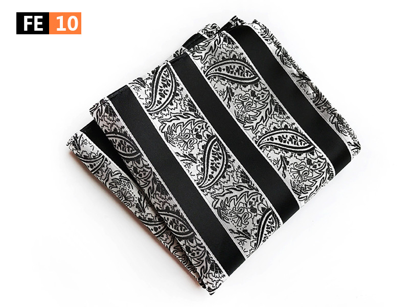 Fashion Men Classic Pocket Square 25x25cm Big Size Hanky For Party Wedding Black Stripe With Paisley