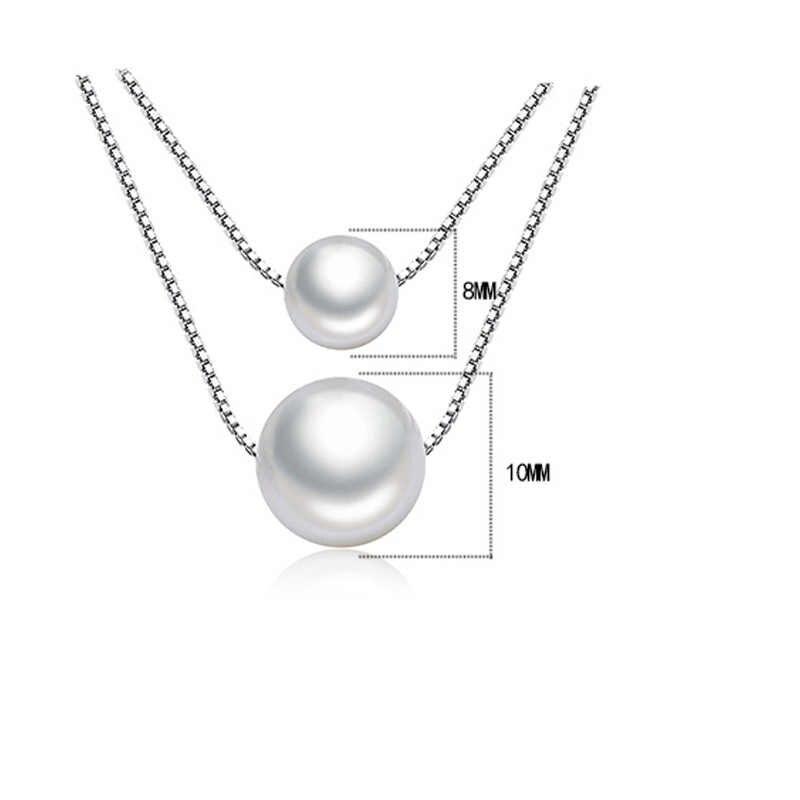 Exquisita imitación de perla colgante de collar para las mujeres con cadena de plata esterlina 925 joyería doble línea de collares Chokers