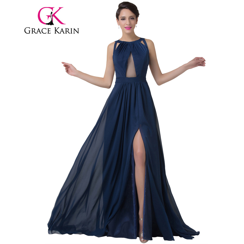 Grace Karin Navy Blue Evening Dress Women Fashion Backless Split Special Long Evening Gown Elegant Special