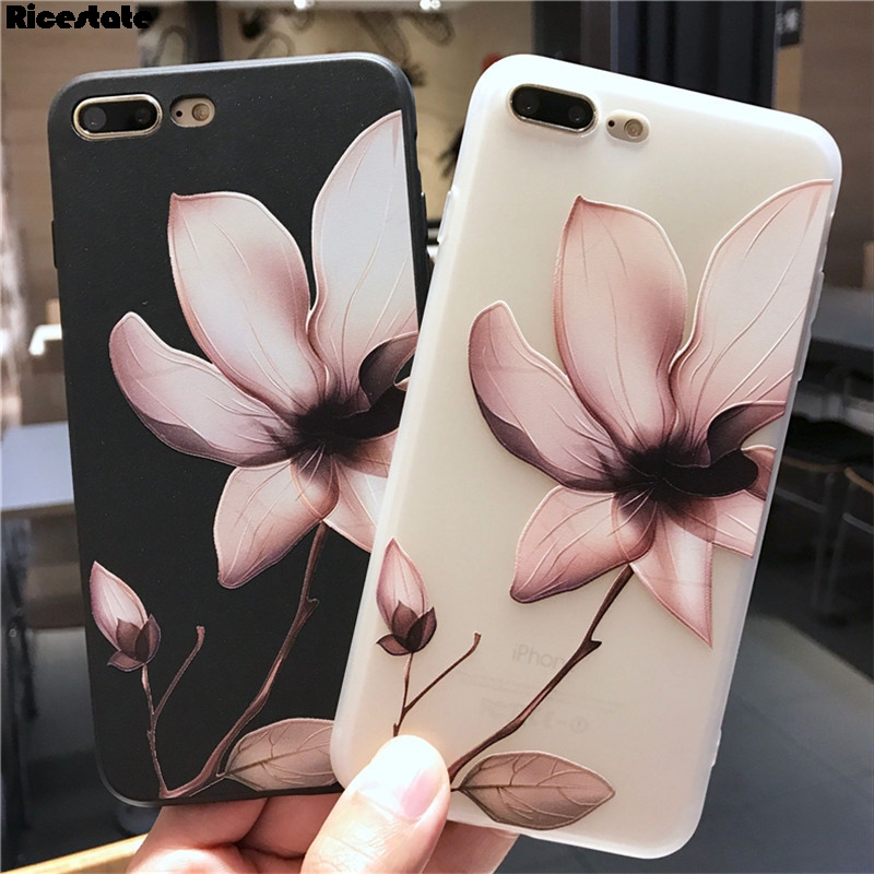 Ricestate Lotus Flower Case For iPhone 6 7 8 Plus X XR XS Max 3D Relief Rose Floral Phone Case For iPhone 11 Pro Max TPU Cover