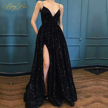 BeryLove Sexy Black Sequin Evening Dress 2019 Spaghetti Straps Evening Gown V Neck Formal Party Slit Prom Dress robe de soiree