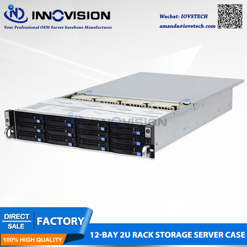 2U 12 bays hotswap rack server case L 560mm NVR NAS server chassis supporting max 12