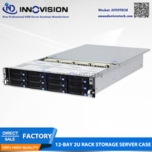 2U 12 bays hotswap rack server case L=560mm NVR NAS server chassis,supporting max 12*10.5 board