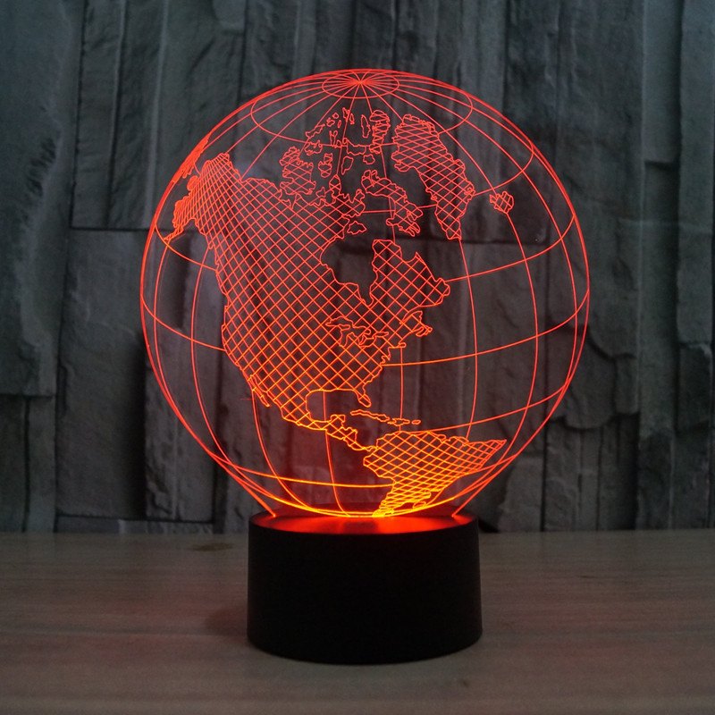 Novelty 7 Colors change Creative 3D World Map Acrylic Visual Light LED Lamp Decoration Lamps Bedroom