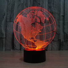 Novelty 7 Colors change Creative 3D World Map Acrylic Visual Light LED Lamp Decoration Lamps Bedroom Night Light Gifts IY803317