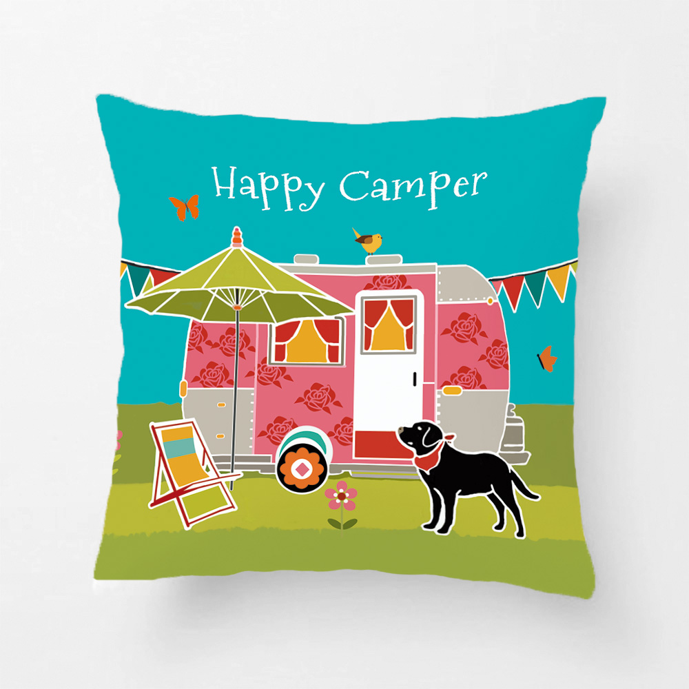 happy camper printing throw pillow case decorative cushion cover for sofa car seat living room pillowcases