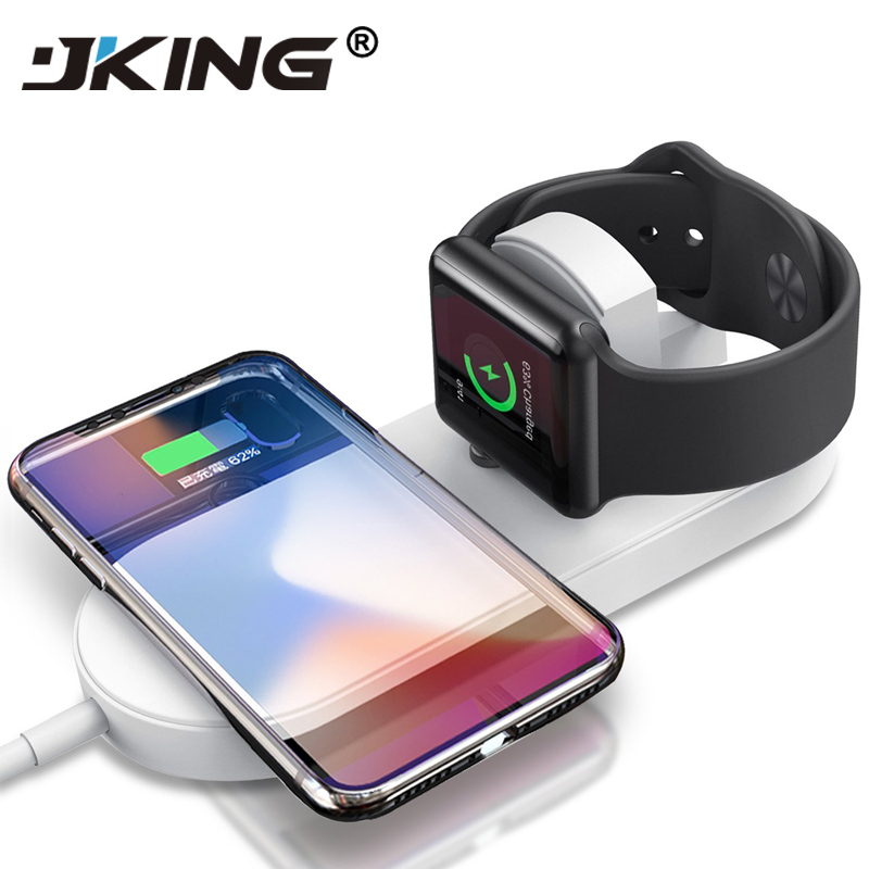 JKING Wireless Charge For iPhone X 8 8plus Wireless Charger Pad Fast Charging For Apple Watch 3 2 QI Charger For Samsang S7 S8