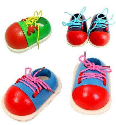 1 Random Educational Toy For Children's Children's Wooden Toys, Children's Lace Shoes, Early Education Montessori Teaching Aids