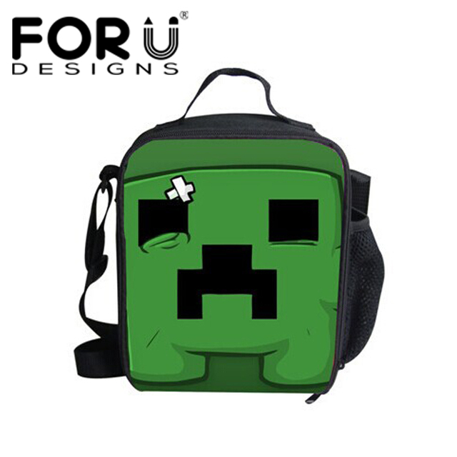 FORUDESIGNS Kids Lunch Bag Minecraft Printing Portable Picnic Bags Women Thermal Lunch Bags Insulated Student Function Lunch Box