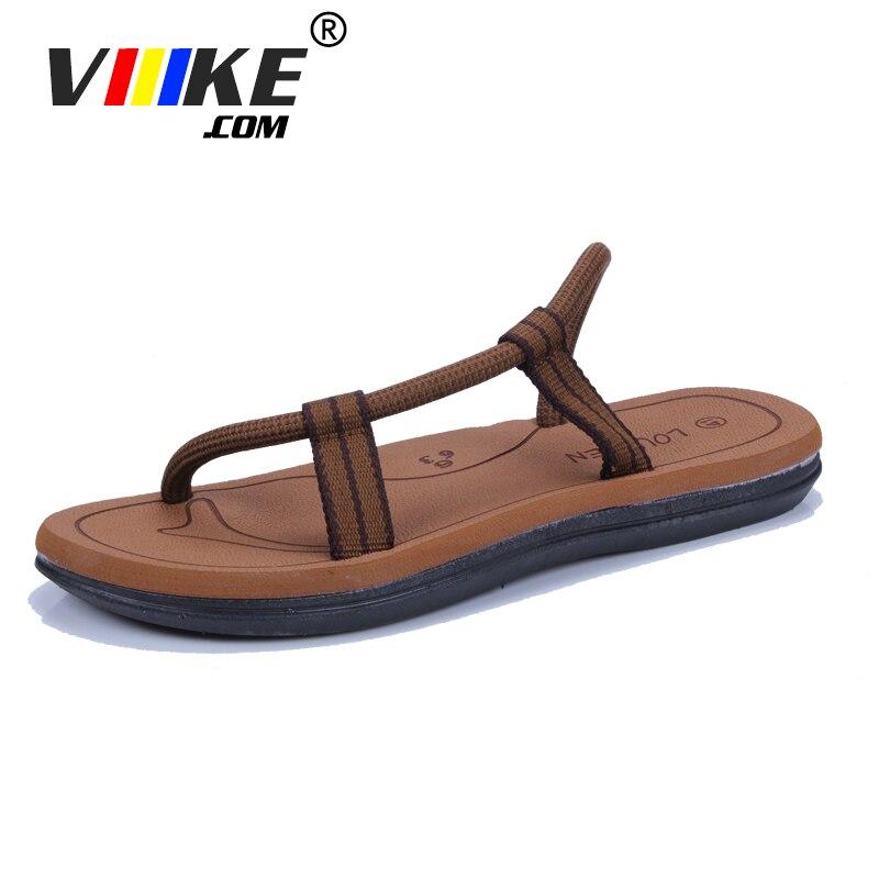 Viiikecom Marque De Luxe 2018 Nouvelle Arrivée D'été Cool Hommes Flip Flops Style Britannique Boardered Plage Sandales glisser Pantoufles Hommes