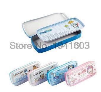 1 Pcs Free shipping metal bunk frozen pencil case school pencil case for girls & boys student stationery ( color random )95552