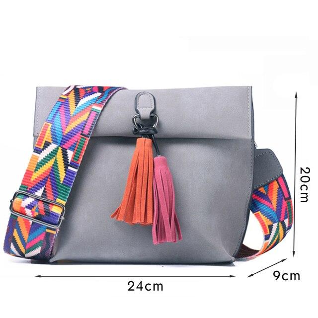 DAUNAVIA Brand Women Messenger Bag Crossbody Bag tassel Shoulder Bags Female Designer Handbags Women bags with colorful strap 5
