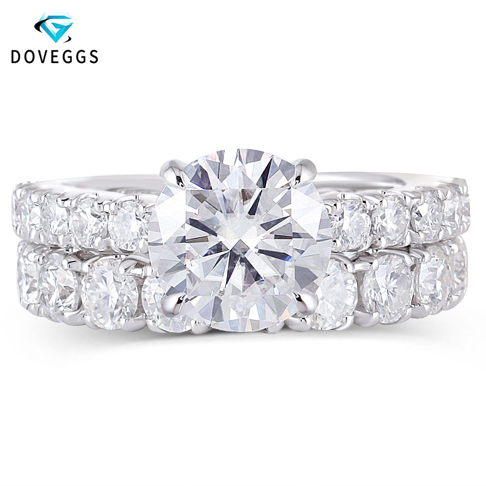 Us 973 75 5 Off Doveggs Solid 14k White Gold 3ct 9mm F Color Moissanite Engagement Ring Set With Accent 3 5mm Heart And Arrow Cut Band For Women In