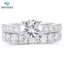 DovEggs Solid 14K White Gold 3ct 9mm F Color Moissanite Engagement Ring Set with Accent 3.5mm Heart and Arrow Cut Band for women
