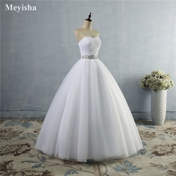 ZJ9040 2019 strapless diamond White Ivory formal Crystal Beads Wedding Dresses 2018 Bridal Dress plus size elegant wholesale 2