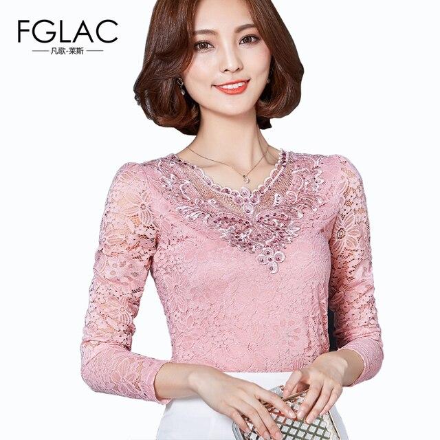Новая Коллекция Весна 2017 Женщины блузка Сплошной цвет с длинными рукавами Алмазов кружева топы Элегантный Тонкий женщины футболки плюс размер женщины топы