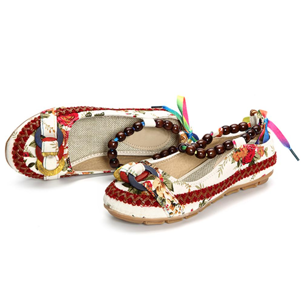 Retro Women Strappy Beaded Woven Floral Print Anti-Slip Cloth Shoes Woman Gift 3 10x42 red laser m9b tactical rifle scope red green mil dot reticle with side mounted red laser guaranteed 100%