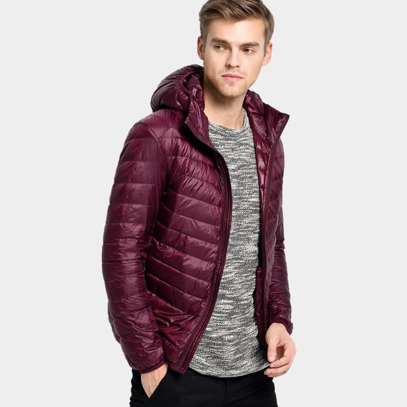 Light Hooded   Down   Jacket Men 2018 Warm   Down     Coat   7 Colors Slim Solid Zipper Men's   Coats   LJ0611