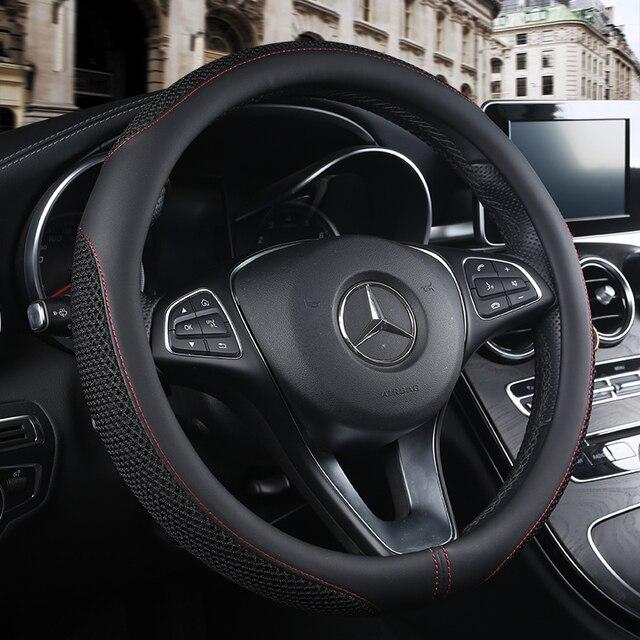 車のステアリングホイールカバーノンスリップ換気 pu レザーユニバーサルほとんどの車のスタイリング車のハンドルカバー