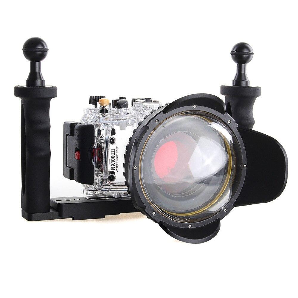 Meikon 40 м/130f подводный Камера Корпус чехол для sony DSC RX100III RX100 M3 w/67 мм красный фильтр камера сумки