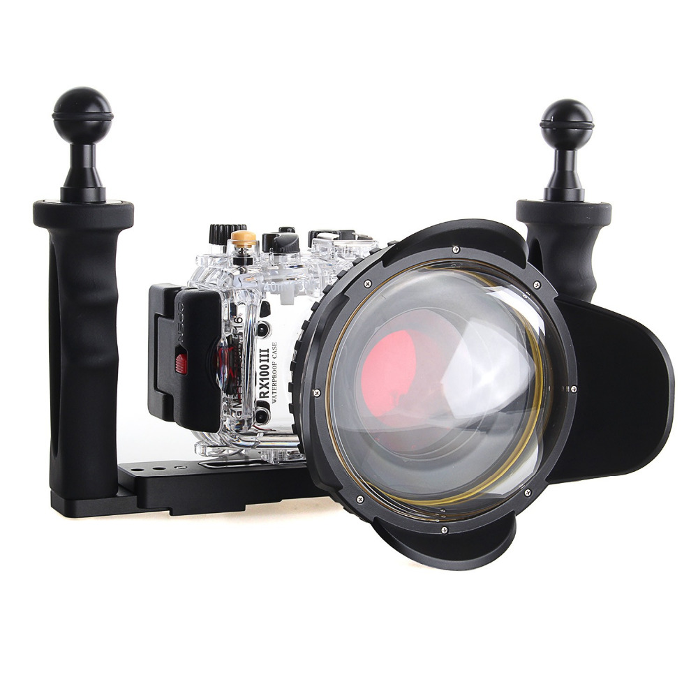 Meikon 40m/130f Underwater Camera Housing Case for Sony DSC RX100III RX100 M3 w/ 67mm Red Filter camera bags